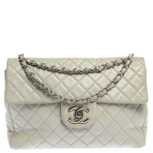 Chanel Frosty Mint Quilted Leather Maxi Classic Double Flap Bag