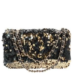 Chanel Blue/Gold Sequin CC Single Flap Bag