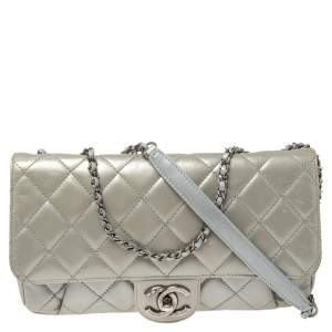 Chanel Pearly Grey Leather Flap Shoulder Bag