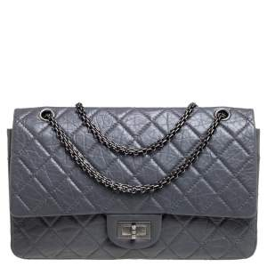 Chanel Grey Quilted Aged Leather Reissue 2.55 Classic 227 Flap Bag