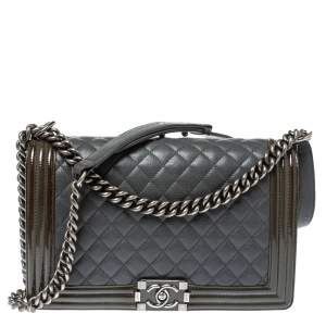 Chanel Grey/Olive Green Quilted Leather and Patent Leather New Medium Boy Flap Bag