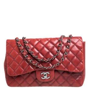 Chanel Red Quilted Leather Jumbo Classic Single Flap Shoulder Bag
