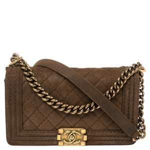 Chanel Brown Quilted Nubuck Leather Medium Boy Shoulder Bag