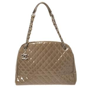 Chanel Dark Beige Quilted Patent  Medium Just Mademoiselle Bowler Bag