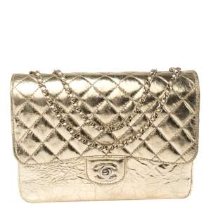 Chanel Metallic Gold Crackled Leather Medium Clam's Pocket Flap Bag