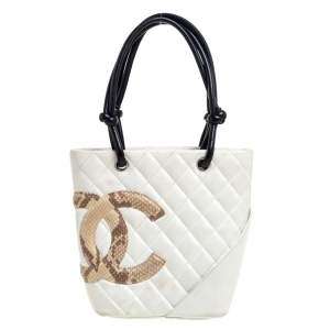 Chanel White Quilted Leather And Python Embossed Trimmed Ligne Cambon Tote