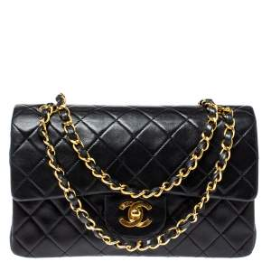 Chanel Black Quilted Leather Small Vintage Classic Double Flap Bag