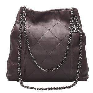 Chanel Brown Leather Surpique Tote Bag