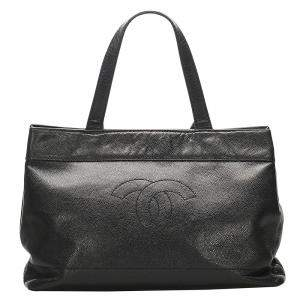 Chanel Black Caviar Leather CC Tote Bag