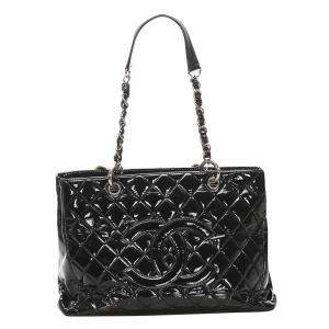 Chanel Black Patent Leather Grand Shopping Tote Bag