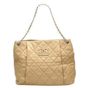 Chanel Beige Quilted Leather Love Me Tender Tote Bag