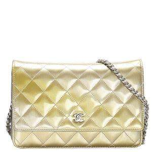 Chanel Metallic Quilted Leather Classic Wallet on Chain Bag