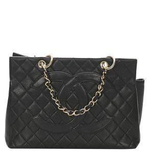 Chanel Black Caviar Leather CC Shopping Tote Bag