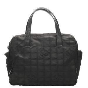 Chanel Black Nylon Vintage Travel Ligne Tote Bag