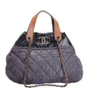 Chanel Black Quilted Iridescent Suede In The Mix Tote Bag