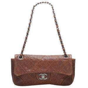 Chanel Brown Leather Wild Stitch Flap Bag