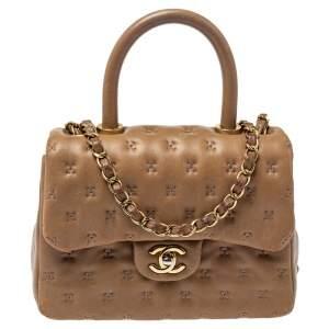 Chanel Beige Leather Paris-Rome Coco Top Handle Bag