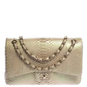 Chanel Champagne Python Jumbo Classic Double Flap Bag