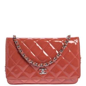 Chanel Coral Orange Quilted Patent Leather Classic Wallet on Chain