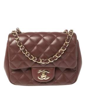 Chanel Maroon Quilted Leather Mini Square Classic Flap Bag