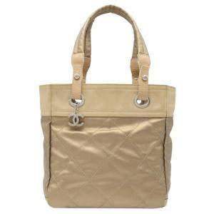 حقيبة شانيل باريس بيارتز جلد ذهبي ميتاليك