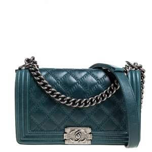 Chanel Teal Quilted Leather Medium Boy Flap Bag