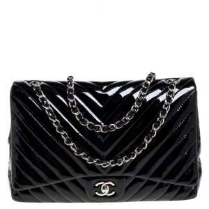 Chanel Black Chevron Patent Leather Maxi Classic Single Flap Bag