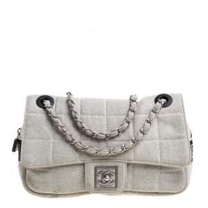 Chanel Light Grey Square Quilt Fabric Sport Line Flap Bag