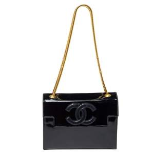 Chanel Black Patent Leather Vintage CC Flap Shoulder Bag
