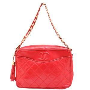 Chanel Red Lizard Leather Vintage Camera Bag