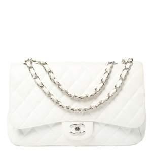 حقيبة شانيل قلاب مزدوج كلاسيك جامبو جلد لامعة مبطنة بيضاء