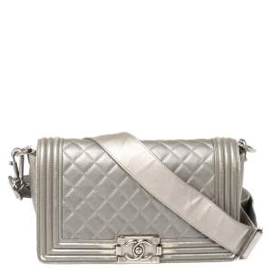 Chanel Grey Quilted Leather and Stingray Trim Medium Boy Flap Bag