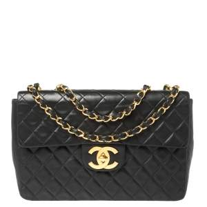 Chanel Black Quilted Leather Maxi Vintage Classic Single Flap Bag