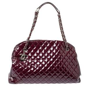 Chanel Dark Magenta Quilted Patent Leather Large Just Mademoiselle Bowler Bag