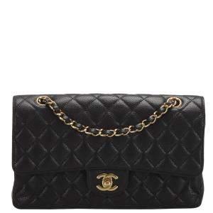 Chanel Black Caviar Leather Classic Jumbo Double Flap Bag