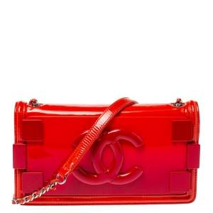 Chanel Orange/Red Ombre Patent Leather and Pexiglass Boy Brick Horizontal Flap Bag