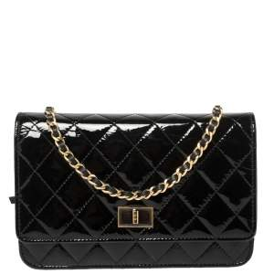 Chanel Black Quilted Patent Leather Reissue Wallet On Chain