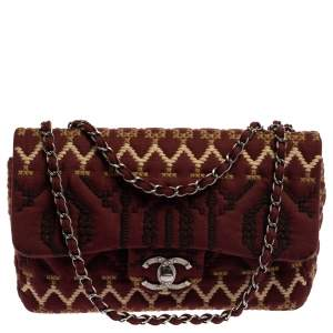 Chanel Multicolor Embroidered Jersey Jumbo Classic Single Flap Bag