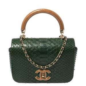 Chanel Green Python CC Top Handle Bag