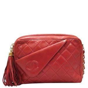 Chanel Red Lambskin Leather Vintage Tassel Camera Bag