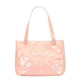 Chanel Pink Patent Leather Triple Coco Tote Bag