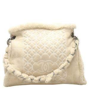 Chanel Ivory Leather/Shearling Vintage Tote Bag