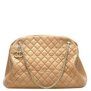 Chanel Brown Quilted Leather Mademoiselle Bowling Bag