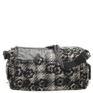 Chanel Black/Grey Tweed Camelia Camera Bag
