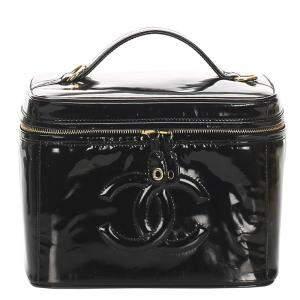 Chanel Black CC Patent Leather Vanity Bag