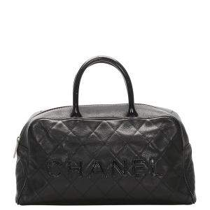 Chanel Black Caviar Leather Travel Bag