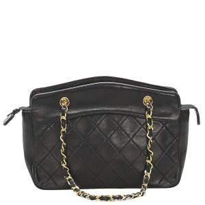Chanel Black Lambskin Leather CC Timeless Bag