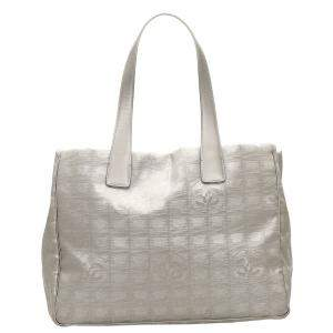 Chanel Grey Canvas Leather New Travel Line Tote Bag