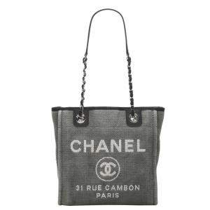 Chanel Grey Canvas Deauville Tote Bag