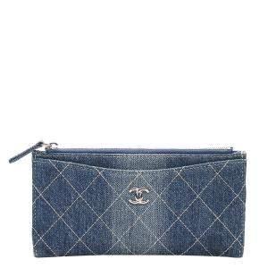 Chanel Blue Denim CC Timeless Wallet